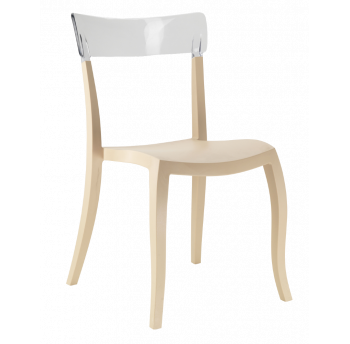 Стул Papatya Hera-S песочно-бежевое сиденье, верх прозрачно-чистый