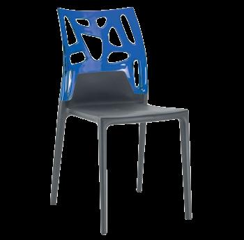 Стул Papatya Ego-Rock антрацит сиденье, верх прозрачно-синий