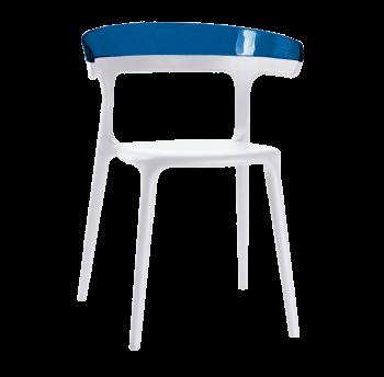 Крісло Papatya Luna біле сидіння, верх прозоро-синій