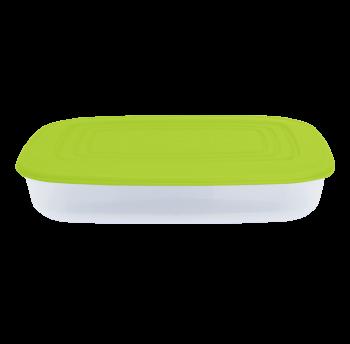 Судочек прямоугольный 2,5л верх оливковый, низ прозрачный