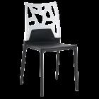 Стілець Papatya Ego-Rock чорне сидіння, верх білий