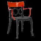 Крісло Papatya Opera-K сидіння чорне, верх прозоро-червоний