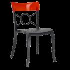 Стул Papatya Opera-S сиденье черное, верх прозрачный темно-красный