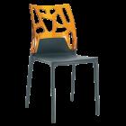 Стул Papatya Ego-Rock антрацит сиденье, верх прозрачно-оранжевый