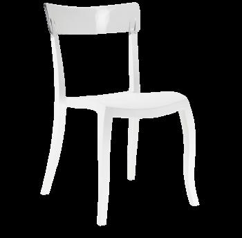 Стілець Papatya Hera-S біле сидіння, верх прозоро-чистий