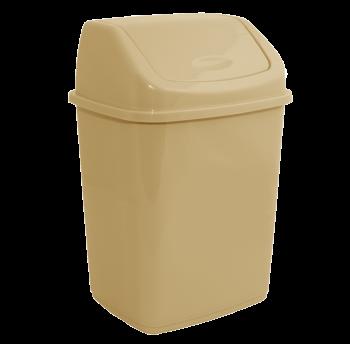 Ведро для мусора 18л с крышкой кремовое
