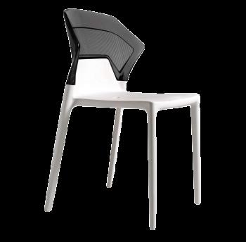 Стул Papatya Ego-S белое сиденье, верх прозрачно-дымчатый