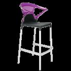 Барное кресло Papatya Ego-K черное сиденье, верх прозрачно-пурпурный