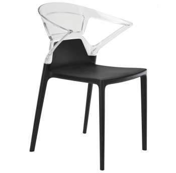 Крісло Papatya Ego-K чорне сидіння, верх прозоро-чистий