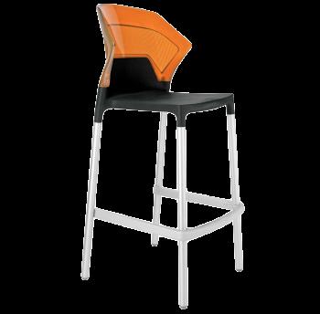 Барный стул Papatya Ego-S черное сиденье, верх прозрачно-оранжевый