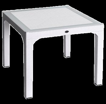 Стіл квадратний Irak Plastik Comfort 90x90 під ротанг білий