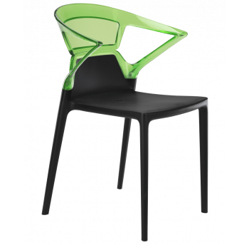 Крісло Papatya Ego-K чорне сидіння, верх прозоро-зелений