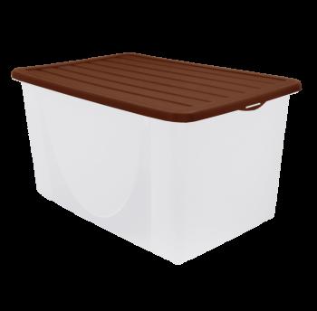 Контейнер для хранения вещей с крышкой 40л верх темно-коричневый, низ прозрачный