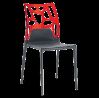 Стілець Papatya Ego-Rock антрацит сидіння, верх прозоро-червоний
