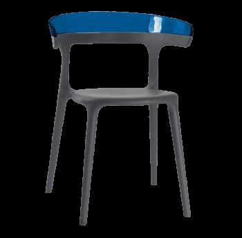 Крісло Papatya Luna антрацит сидіння, верх прозоро-синій