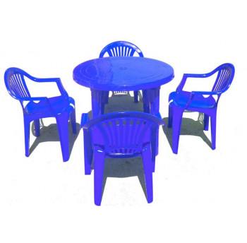 Комплект стол круглый + 4 стула Луч синий