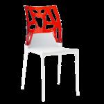 Стул Papatya Ego-Rock белое сиденье, верх прозрачно-красный