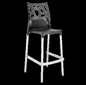 Барний стілець Papatya Ego-Rock антрацит сидіння, верх прозоро-димчастий