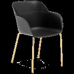 Крісло Tilia Shell-MG ніжки металеві золото, сидіння чорне