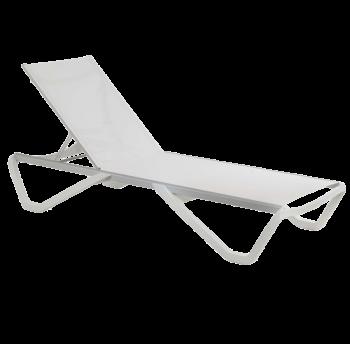 Шезлонг Papatya Wave белый 01, сетка белая 5001