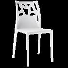Стілець Papatya Ego-Rock біле сидіння, верх білий