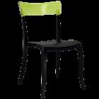 Стілець Papatya Hera-S чорне сидіння, верх прозоро-зелений