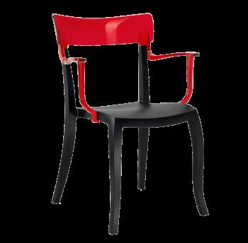 Крісло Papatya Hera-K чорне сидіння, верх прозоро-червоний