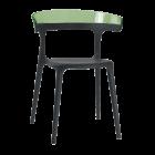 Крісло Papatya Luna чорне сидіння, верх прозоро-зелений
