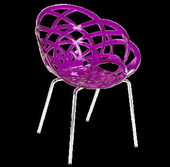 Кресло Papatya Flora-ML прозрачно-пурпурное сиденье, ножки хром