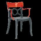 Крісло Papatya Opera-K сидіння антрацит, верх прозоро-червоний