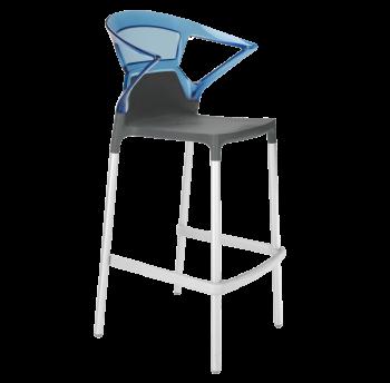 Барное кресло Papatya Ego-K антрацит сиденье, верх прозрачно-синий