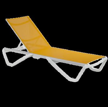 Шезлонг Papatya Wave белый 01, сетка желтая 5017