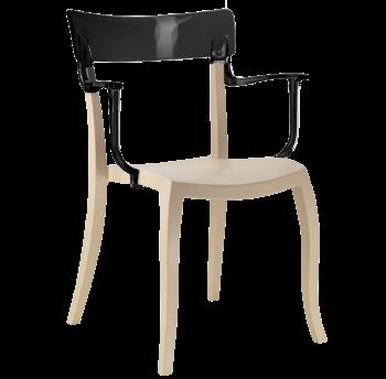 Крісло Papatya Hera-K пісочно-бежеве сидіння, верх чорний