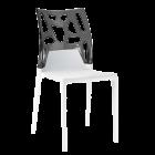 Стілець Papatya Ego-Rock біле сидіння, верх прозоро-димчастий