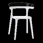 Кресло Papatya Luna белое сиденье, верх черный