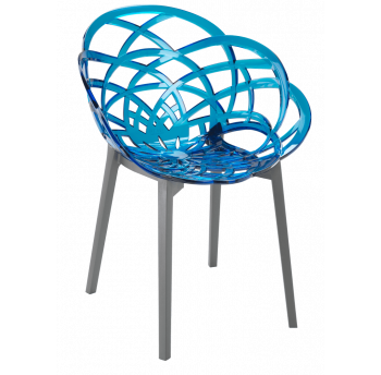 Кресло Papatya Flora прозрачно-синее сиденье, низ антрацит