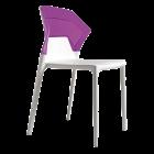 Стул Papatya Ego-S белое сиденье, верх прозрачно-пурпурный