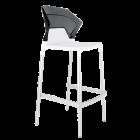 Барний стілець Papatya Ego-S біле сидіння, верх прозоро-димчастий