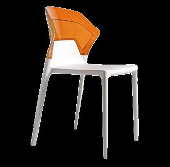 Стілець Papatya Ego-S біле сидіння, верх прозоро-помаранчевий