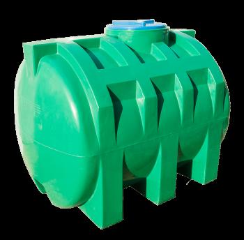 Емкость 1000 л горизонтальная, двухслойная зеленого цвета