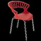 Кресло Papatya Tiara красный, антрацит база катафорез