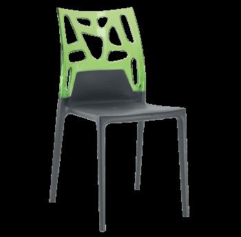 Стілець Papatya Ego-Rock антрацит сидіння, верх прозоро-зелений