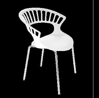 Кресло Papatya Tiara белый, база хром
