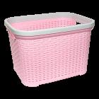 Корзина для белья под ротанг 35 л розовая