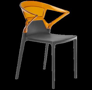 Кресло Papatya Ego-K антрацит сиденье, верх прозрачно-оранжевый