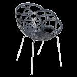 Крісло Papatya Flora-ML прозоро-димчасте сидіння, ніжки хром
