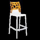 Барний стілець Papatya Ego-Rock біле сидіння, верх прозоро-помаранчевий