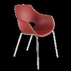 Кресло Papatya Opal красный кирпич, база хром