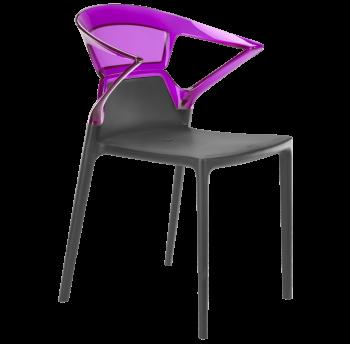 Крісло Papatya Ego-K антрацит сидіння, верх прозоро-пурпурний