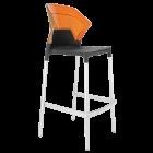 Барний стілець Papatya Ego-S антрацит сидіння, верх прозоро-помаранчевий
